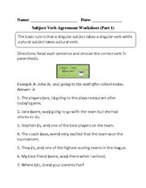 Choosing and Fill-In Subject Verb Agreement Worksheet