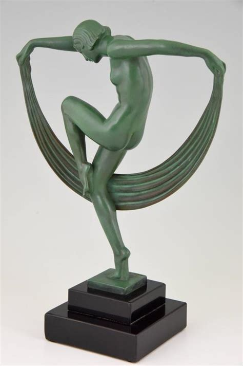 French Art Deco Sculpture of a Nude Scarf Dancer by Denis