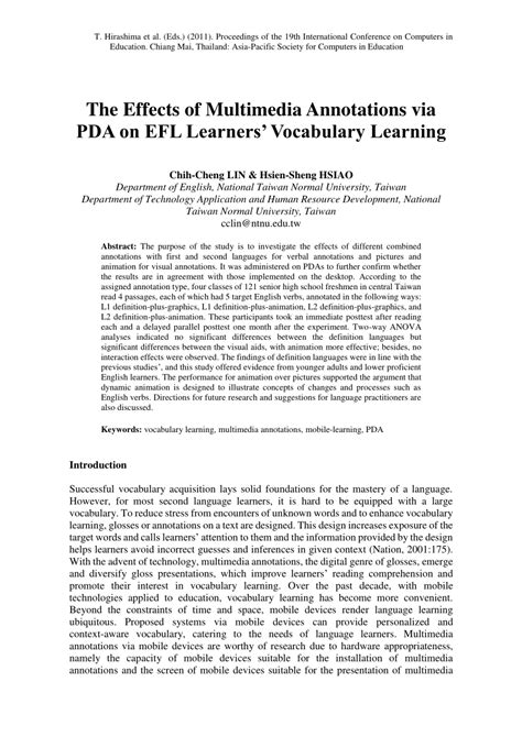 (PDF) The Effects of Multimedia Annotations via PDA on EFL
