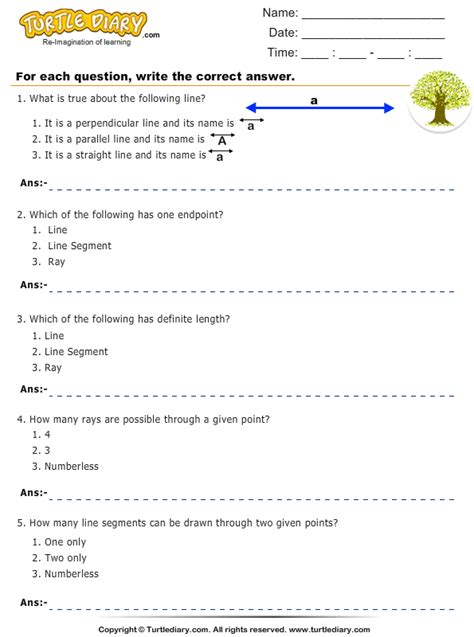 Identify Ray, Line, or Line Segment Worksheet - Turtle Diary