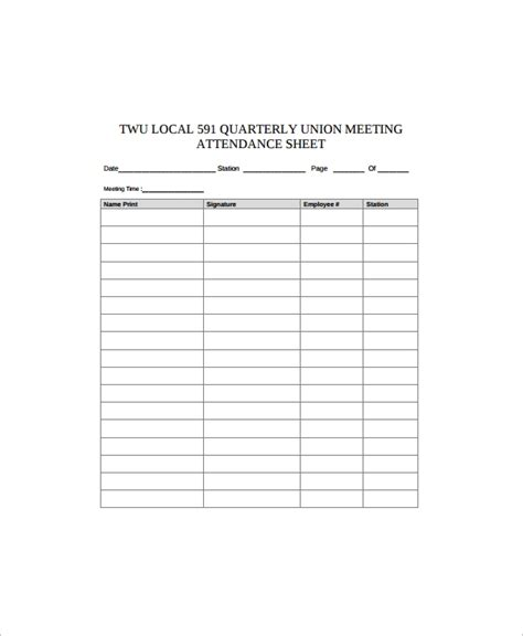 Sample Employee Sign in Sheet - 9+ Free Documents Download