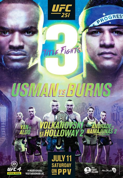 UFC 251 poster for 'Usman vs Burns' featuring championship