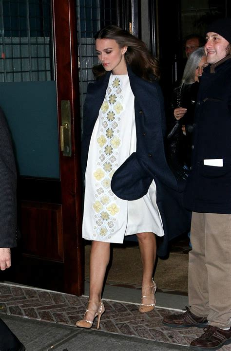 Pregnant KEIRA KNIGHTLEY Leaves a Downtown Hotel in New