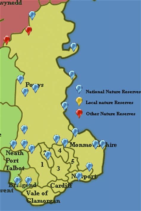 East Wales nature reserves: map, pictures, guide