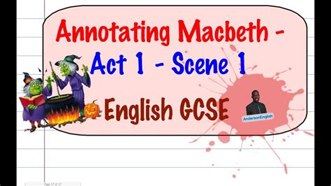 Annotation and analysis of 'Macbeth' Act 1 scene 1 by